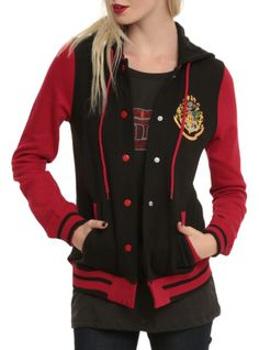 Varsity style jacket with a red and black Hogwarts design.