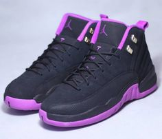 Photos and release date for the Air Jordan 12 GS Hyper Violet colorway (Black/Metallic Gold Star-Hyper Violet, style Air Jordan Sneakers, Girls Sneakers, Best Sneakers, Sneakers Fashion, Shoes Sneakers, Jordan Shoes Girls, Jordans Girls, Nike Air Jordans, Girls Shoes