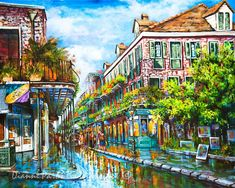 New Orleans French Quarter Art, New Orleans Artist, Royal Street, Impressionist Street Scene with Balconies - 'Royal at Pere Antoine Alley' Louisiana Art, New Orleans Louisiana, Canvas Art, Canvas Prints, Art Prints, Framed Prints, New Orleans Art, New Orleans French Quarter, Thing 1