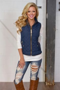 10% off & FREE shipping with code REPJENNIFER!  More To Explore Quilted Puffer Vest - Navy