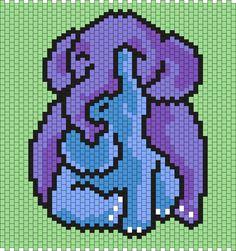 Mommy And Baby Elephant  (Multi) Kandi Pattern