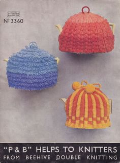 vintage tea cosy knitting and crochet pattern 1930s