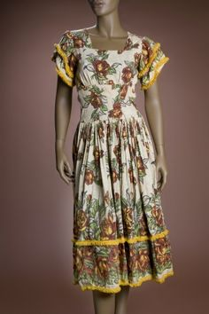 1972 Floral Print Cotton Dress Worn in Treemonisha, an opera composed by the famed African-American ragtime composer Scott Joplin.