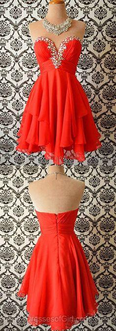 Chiffon Prom Dresses, Mini Formal Dresses, Sweetheart Evening Dresses, Red Homecoming Dresses, Cheap Graduation Dresses