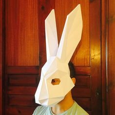 Make Your Rabbit Mask from paper, PDF pattern mask, Polygon Face DIY Paper Mask, Papercraft, Party Animal