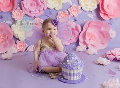 Purple and pink birthday cake smash, garden fairy, lights and butterflies #LittleBloomsPhotography