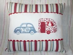VW Beetle & Caravan Cross-Stitched Cushion. £25,00, via Etsy.