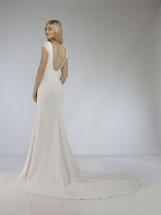 Lorita by Robert Bullock at Sash & Bustle - Crepe Wedding Dress, Open Back Wedding Dress, Fit And Flare Wedding Dress, Bridal Gowns, Wedding Gowns, Minimalist Wedding Dresses, Mermaid Gown, Bustle, Bridal Collection