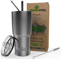 BEAST 30oz Stainless Steel Tumbler Vacuum Insulated Rambler Coffee Cup Double Wall Travel Mug with Splash Proof Lid, 2 Straws, Brush & Gift Box Bundle By Greens Steel