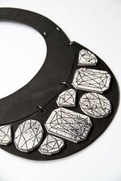 collection OMUT'13, omutjewelry, omut, jewelry, massive necklace, art, handwork, handmade, leather, rung, steel, acrylic, crystals, stones, applique, geometric shapes, graphics drawing, symmetry, monochrome, fashion black white, gradient, triangles, rough skin, texture, design, architecture, layers, levels, macro, details, pear, round, emerald, diamond sketch, patch