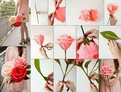 DIY fleur en papier crepon bouquet de mariée