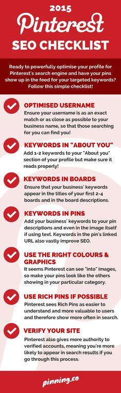 2015 Pinterest SEO Checklist - #SocialMedia #SocialNetworks #Infographic #Infographics #Pinterest