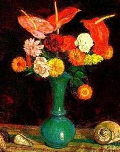 ❀ Blooming Brushwork ❀ - garden and still life flower paintings - Leon De Smet Painting Still Life, Still Life Art, Realistic Sketch, Seashell Painting, Orange Flowers, Cool Artwork, Lovers Art, Photo Art, Life Flower