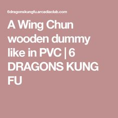 A Wing Chun wooden dummy like in PVC   6 DRAGONS KUNG FU