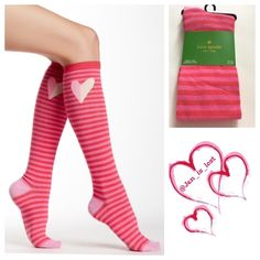 Kate Spade Knee High Socks Fall in love with this knee-high striped sock set complete with heart design and contrast toe and heel colors. - Knit construction - Heart and stripe print - Knee high Fiber Content: 63% cotton, 35% polyester, 2% spandex No Trades ✅ Offers Considered*✅ *Please use the blue 'offer' button to submit an offer. kate spade Accessories Hosiery & Socks