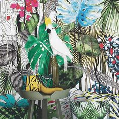 """Thanks God it's Friday! Thank you Maxima magazine for this beautiful picture featuring Christian Lacroix Maison """"Jardin Exo'Chic"""" fabric and a very friendly parrot! C'est le week-end! @Latorredecora"""