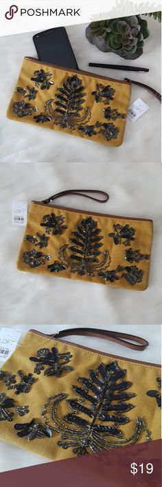 NEW Ann Taylor LOFT Floral Beaded Clutch Wristlet Brand new with Tags. So cute and make the perfect addition to any basic outfit. Perfect for Spring! Beautifully beaded floral print. Mustard color. Tree symbol. Smoke free, pet free home. LOFT Bags Clutches & Wristlets