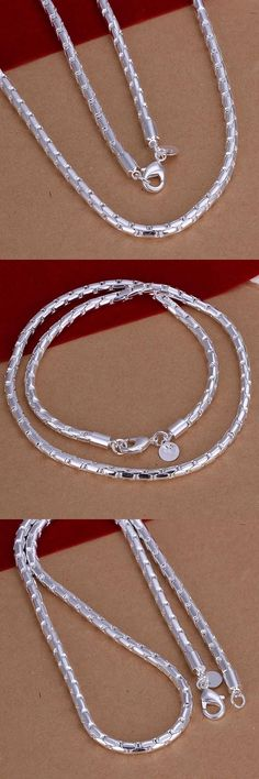 N189 top quality Silver Plated & Stamped 925 4mm round square snake chains necklace for men's  jewerly wholesale 20inch