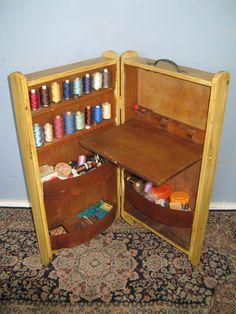 vintage sewing machine cabinet trunk chest storage box   eBay