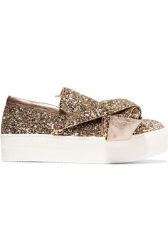No. 21 - Knotted Glittered Leather Sneakers - Gold