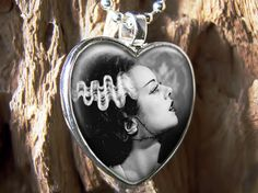 Bride of Frankenstein Horror Halloween Heart Glass Pendant Necklace Mary Shelley Frankenstein, Bride Of Frankenstein, Frankenstein's Monster, Monster Mash, Spark Up, Creature Feature, Pretty Dolls, Glass Pendants, Rockabilly