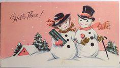 Snowman & Snowlady w/ Pink Sky-Vintage Christmas Card