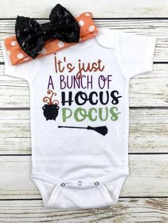 It's Just A Bunch Of Hocus Pocus Halloween Witches Bodysuit Outfit Baby Girl - Baby girl clothes - Baby World Baby Outfits, Body Suit Outfits, Kids Outfits, Toddler Outfits, Baby Dresses, Body Suits, Newborn Outfits, Baby Boys, Cute Baby Girl