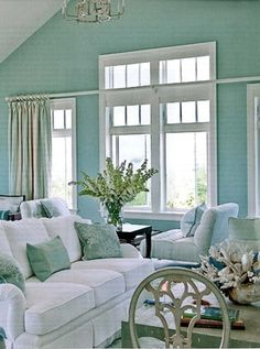 Coastal decor, living or sitting room Coastal Homes, Coastal Living, Coastal Decor, Home And Living, Coastal Colors, Coastal Cottage, Coastal Style, Seaside Decor, Design Salon