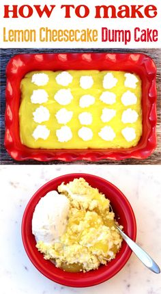 Easy Lemon Desserts!  Craving a sweet and tangy new addition to your dessert menu?  You're going to  love this delicious lemon cheesecake dump cake! Desserts Menu, Lemon Desserts, Delicious Desserts, Dessert Recipes, Yummy Food, Easy Lemon Cheesecake, Cheesecake Cake, Popular Recipes, Easy Recipes