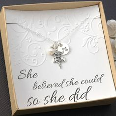 RN Registered Nurse Necklace - Graduate Card, 2014 Graduation Gift, Sterling Silver Charm