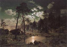 Magnus Hjalmar Munsterhjelm : Forest Landscape in Moonlight Forest Landscape, Landscape Art, Landscape Paintings, Landscapes, Nocturne, Moonlight Painting, Love Images, Dark Images, Romanticism