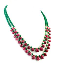 Two Row Emerald Necklace With Ruby Drops and Gold Foil Beads   Etsy