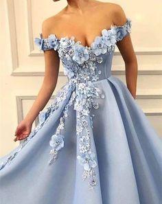 Fancy wathet blue off the shoulder flower long prom dress - Bal de Promo Elegant Prom Dresses, Beautiful Prom Dresses, Prom Dresses Blue, Ball Dresses, Ball Gowns, Long Dress For Prom, Dresses For Balls, Wedding Dress Blue, Elegant Evening Gowns