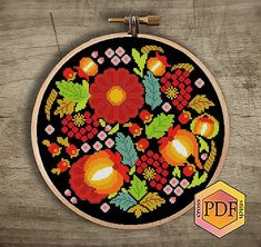 Floral folk modern cross stitch pattern, easy counded cross stitch color chart, flowers, ornament, n Embroidery Hoop Art, Cross Stitch Embroidery, Embroidery Designs, Floral Embroidery, Free Cross Stitch Charts, Simple Cross Stitch, Modern Cross Stitch Patterns, Counted Cross Stitch Patterns, Cross Stitching