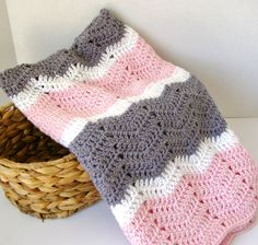 Crochet Baby Blanket, Crochet Baby Afghan in Pink, Grey, White Baby Girl