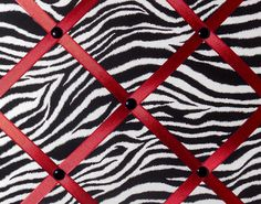 Zebra Print French Memo Board with Red Ribbon by debbieshine, $25.99