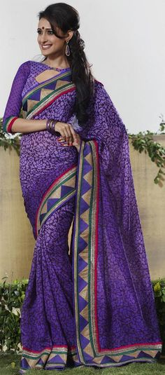 $63.70 Purple Art Silk Printed Mofits Work Saree 22047