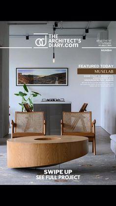 Ad Design, House Design, Small Apartment Living, Bamboo Furniture, Apartment Interior Design, Swinging Chair, Office Interiors, Modern Interior, Architecture Design