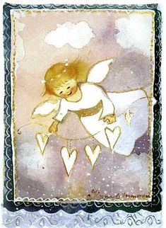 Angel by Minna Immonen Christmas Tale, Vintage Christmas Cards, Christmas Wishes, Christmas Angels, Vintage Cards, I Believe In Angels, Angel Pictures, Guardian Angels, Naive Art