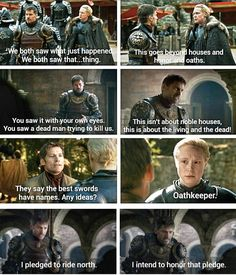 Jaime Lannister being inspired and motivated by Brienne of Tarth | 7x07 & 4x04