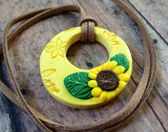 "Polymer Clay Sunflower Pendant Necklace 1 1/2"" Round Yellow on Etsy, $20.00"