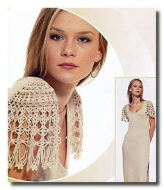 Tejidos a crochet para los hombros en vestido de noche
