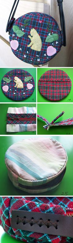 How to Sew a Round Bag sewing pattern DIY Tutorial in Pictures. http://www.handmadiya.com/2016/02/round-bag-with-strap-tutorial.html