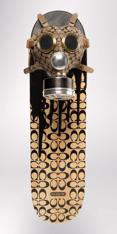 Coach style luxury gas mask and skateboard art piece by yours truly. ;)  CONSUME! $300