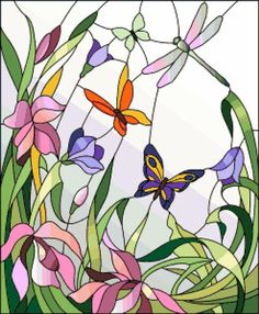 Stained glass window with flowers and butterflies - Witraże świeckie Stained Glass Paint, Stained Glass Flowers, Stained Glass Designs, Stained Glass Panels, Stained Glass Projects, Stained Glass Patterns, Mosaic Art, Mosaic Glass, L'art Du Vitrail