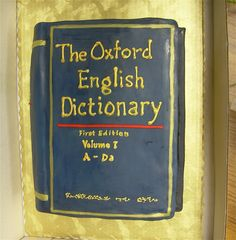 Handwritten Dictionary cake