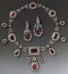 diamond and pink spinel necklace and earrings, made in 1810, bought at auction in 1977 by the Duke of Westminster