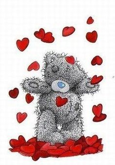 Tatty Teddy surrounded by hearts Tatty Teddy, Teddy Bear Pictures, Bear Photos, Cute Images, Cute Pictures, Decoupage, Fizzy Moon, Blue Nose Friends, Bear Illustration