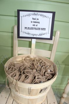 Favors In Burlap Bags Christine Waldroff Dads 80th Birthday Party Ideas