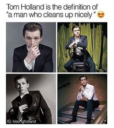Is it just me are people named just the definition of HOT? Holland especially. Marvel Jokes, Marvel Funny, Marvel Avengers, Bae, Tom Holland Peter Parker, Def Not, Men's Toms, Tommy Boy, Man Thing Marvel